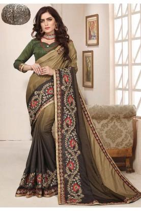 Brown,Beige Colour Designer Saree.