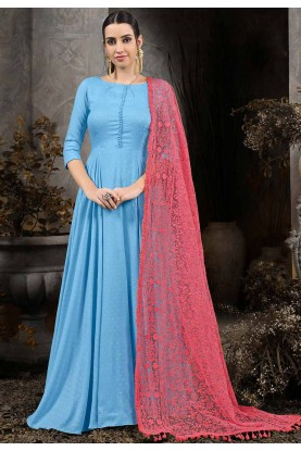 Blue Colour Party Wear Gown.