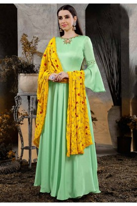 Green Women Indowestern Gown.