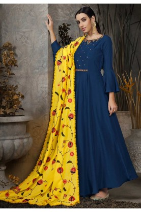 Blue Colour Designer Gown.