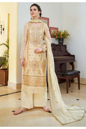 Designer Palazzo Suit in Cream Color.