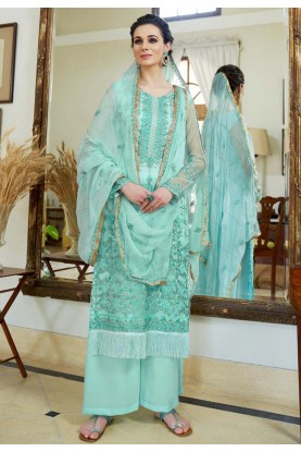 Turquoise Color Silk Salwar Suit.