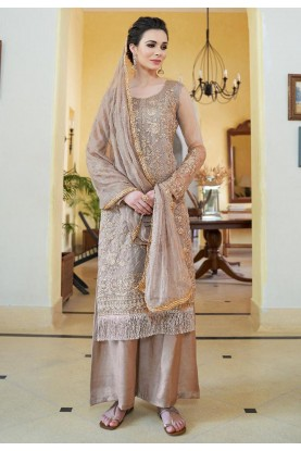 Brown Color Party Wear Palazzo Suit.
