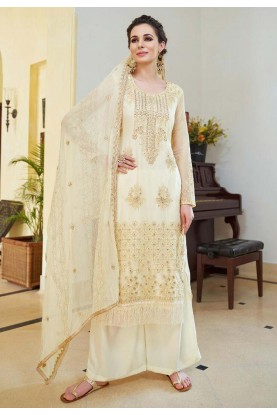 Cream Color Party Wear Palazzo Suit.