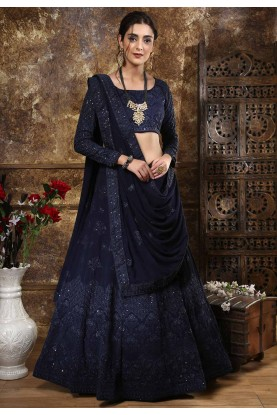 Blue Color Party Wear Lehenga Choli.