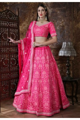 Pink Color Silk Engagement Lehenga Choli.