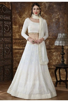 Off White Color Designer Lehenga Choli.