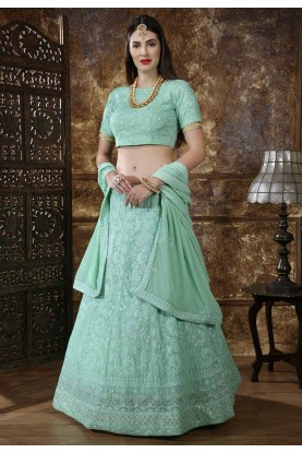 Green Color Indian Designer Lehenga.