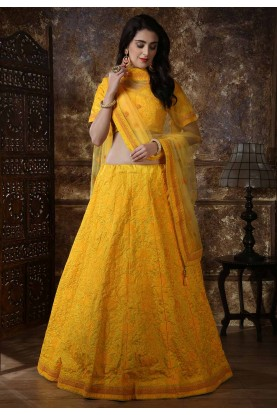 Yellow Color Silk Wedding Lehenga Choli.