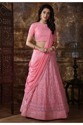 Engagement Lehenga Choli in Pink Color.