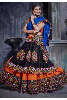 Orange Colour Indian Traditional Lehenga Choli.
