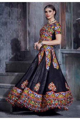 Black Colour Cotton Lehenga Choli.
