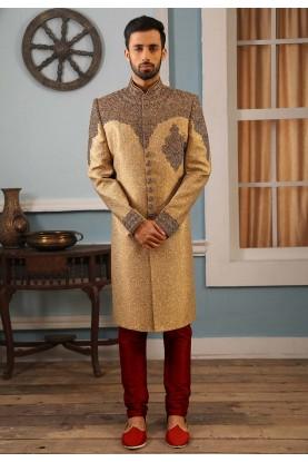 Golden Colour Designer Indian Wedding Sherwani.