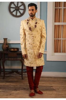Cream Colour Jacquard Silk Wedding Sherwani.