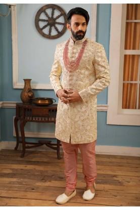 Cream Colour Designer Men's Sherwani.