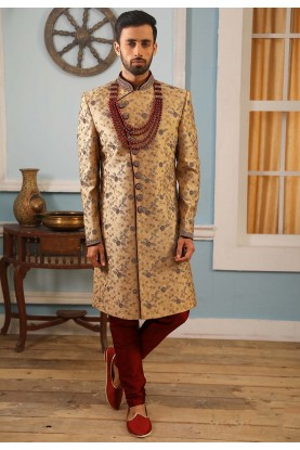 Golden Colour Brocade Fabric Indian Sherwani.
