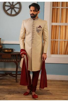 Golden Colour Indian Designer Sherwani.
