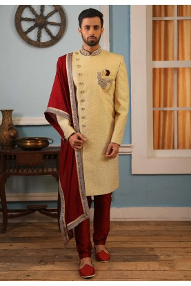 Yellow Colour Wedding Sherwani.