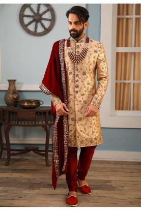 Beige Colour Banarasi Silk Sherwani.