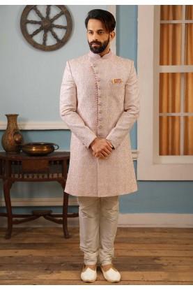 Pink Colour Banarasi Silk Indowestern