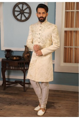Cream Colour Brocade Fabric Men's Indowestern.