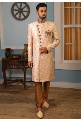 Cream,Golden Colour Designer Indowestern.