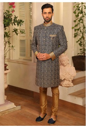 Blue Colour Banarasi Silk Men's Indowestern.