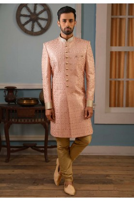 Peach Colour Embroidered Work Indowestern.
