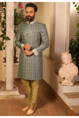 Grey Colour Banarasi Silk Men's Indowestern.