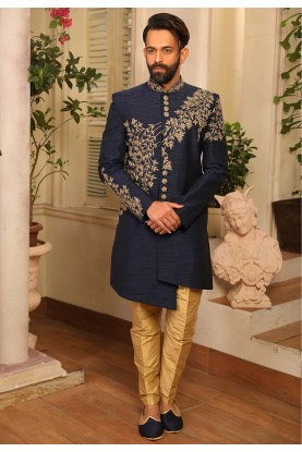 Exclusive Designer Indowestern in Blue Colour.