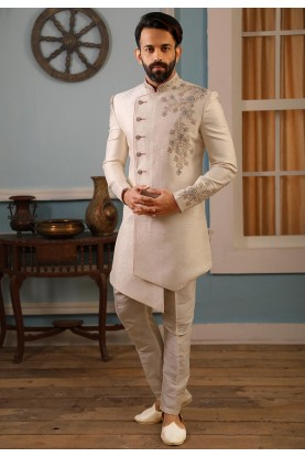 Cream Colour Jacquard Silk Men's Indowestern.