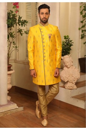 Yellow Colour Designer Men's Indowestern.