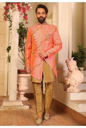 Stylish Designer Indowestern in Peach Colour.