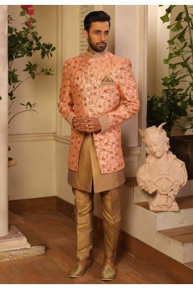 Peach Colour Brocade Fabric Men's Indowestern.