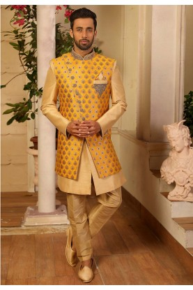 Yellow Colour Indian Designer Indowestern.