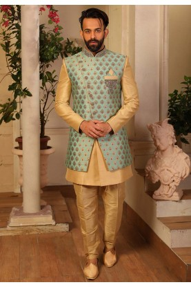 Sea Green Colour Party Wear Indowestern.