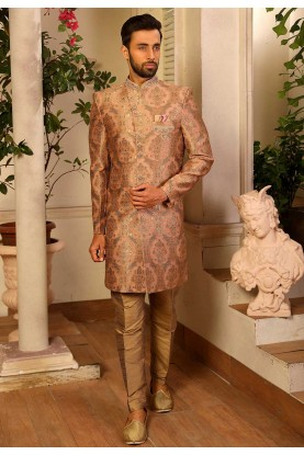 Peach Colour Men's Indowestern.