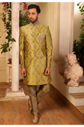Indian Designer Indowestern in Yellow Colour.