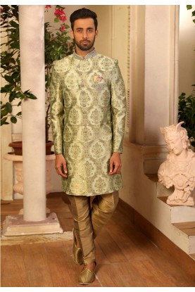 Sea Green Colour Men's Indowestern Dress.