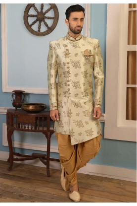 Cream Colour Engagement Indowestern Dress.