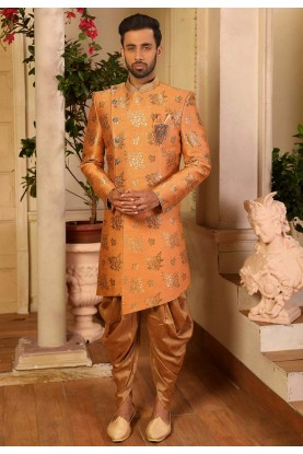 Peach Colour Designer Indowestern.