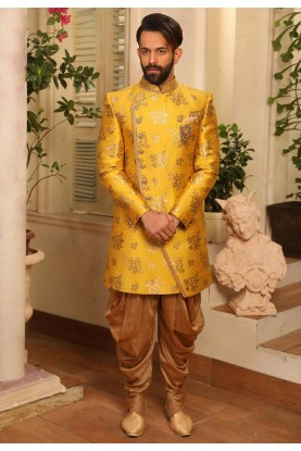 Exclusive Designer Men's Indowestern in Yellow Colour.