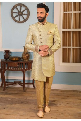 Light Green Colour Brocade Fabric Men's Indowestern.