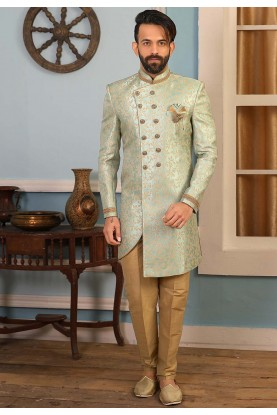 Sea Green Colour Men's Indowestern.