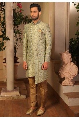 Men's Designer Indowestern in Sea Green Colour.