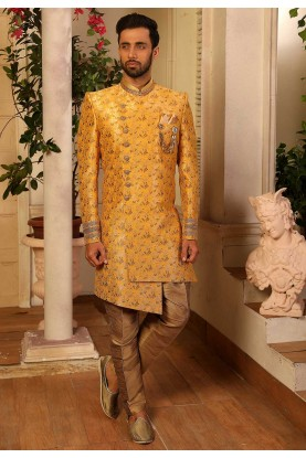 Yellow Colour Party Wear Men's Indowestern.