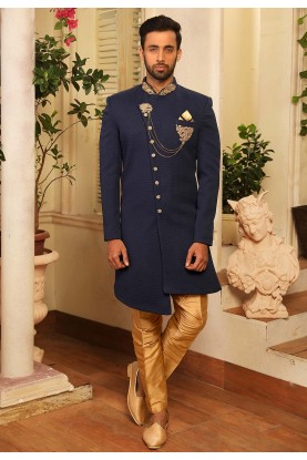 Men's Designer Indowestern in Blue Colour.