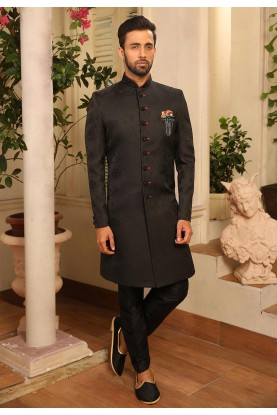 Black Colour Party Wear Men's Indowestern.