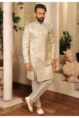 Cream Colour Nawabi style Men's Indowestern.