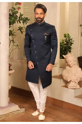 Blue Colour Reception Nawabi Style Indowestern.